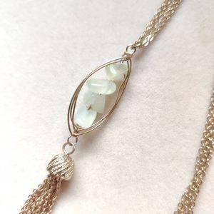 Long jade tassel necklace